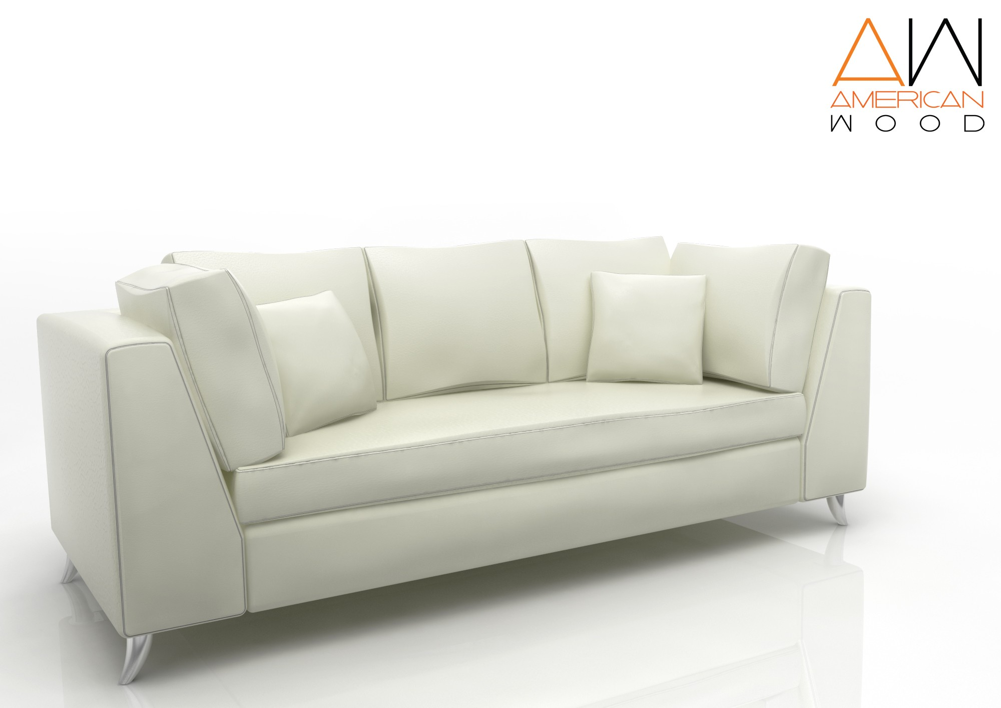 Sofa New 3 cuerpos American Wood blanco
