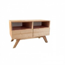 Mesa de TV Nordica Berna 2 cajones natural 90