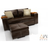 Sofa Concept con Puf Chocolate American Wood